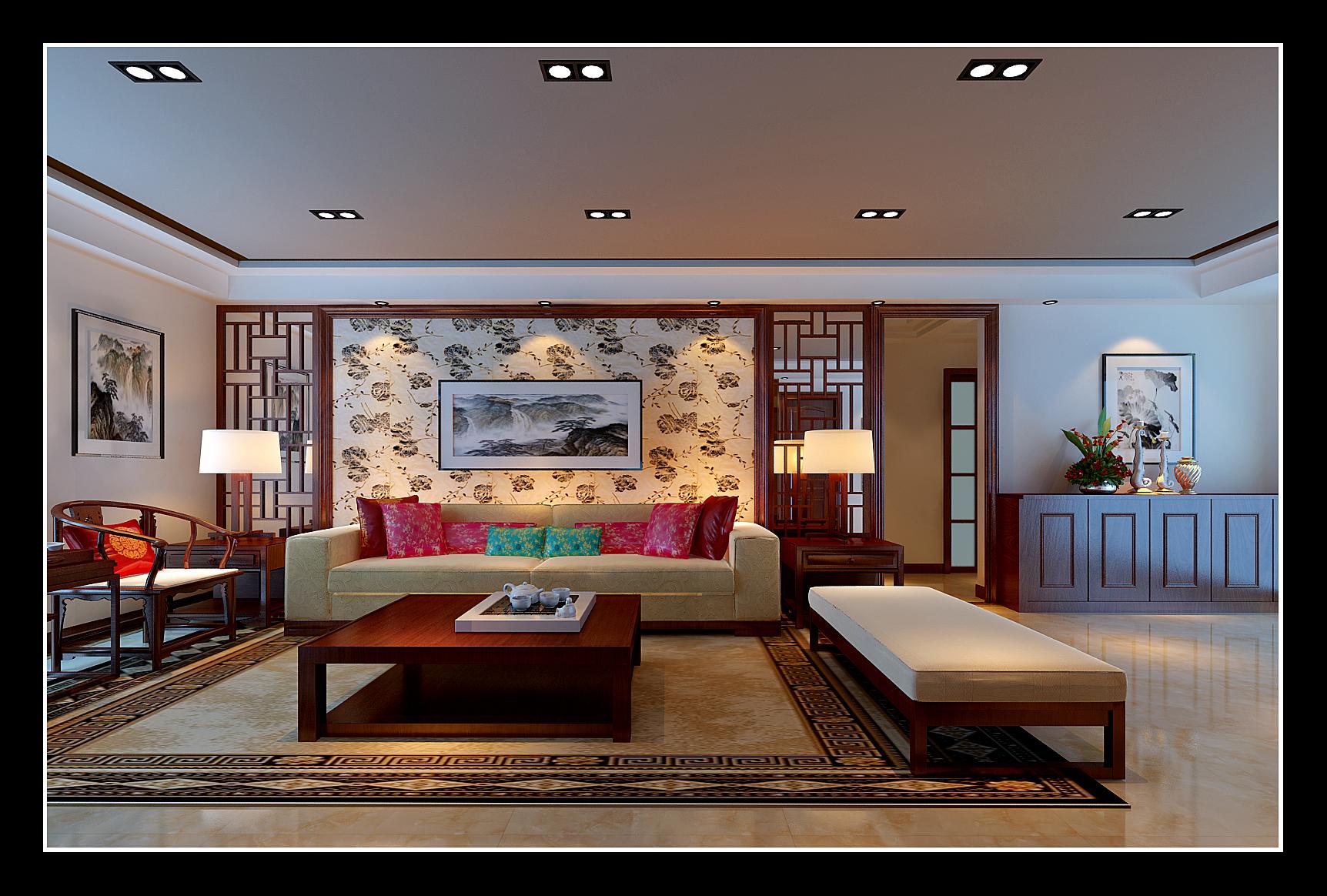 【盛世华城】吉总新中式客厅沙发背景